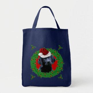 Christmas Labrador Dog Grocery Tote Bag