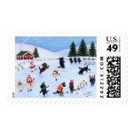 Christmas Labrador Fun Painting Postage Stamp