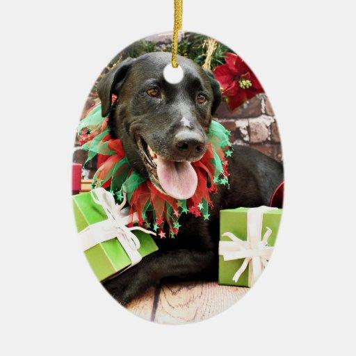 Christmas - Labrador - Gracie Double-Sided Oval Ceramic Christmas Ornament
