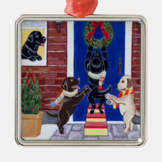 Christmas Labrador Painting Christmas Wreath Ornament