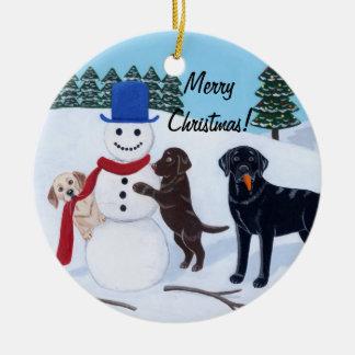 Christmas Labrador Painting Snowman Ceramic Ornament
