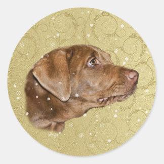 Christmas, Labrador Retriever Dog Classic Round Sticker