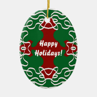 Christmas Lace Pattern Ceramic Ornament