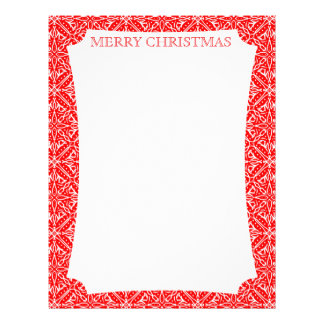 Christmas Lace Red and White Delicate Lacy Pattern Letterhead