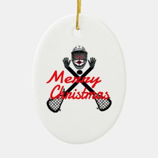 Christmas Lacrosse Cartoon Ceramic Ornament