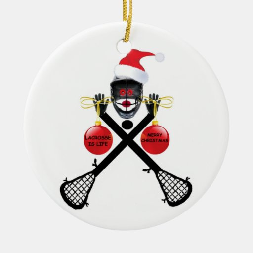 Christmas Lacrosse Double-Sided Ceramic Round Christmas Ornament