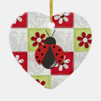 Christmas Ladybug Ceramic Ornament