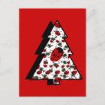 Christmas Ladybug Tree Holiday Postcard