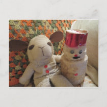 Christmas Lamb & Snowman Holiday Postcard