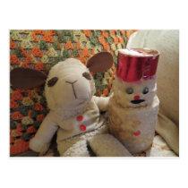 Christmas Lamb & Snowman Postcard