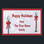 "Christmas Lamp Snowflake Custom Yard Sign<br><div class=""desc"">The Lamppost image is a graphic illustration by artist/designer Charmaine Paulson.  It was created as a vector then completed in photo software.</div>"