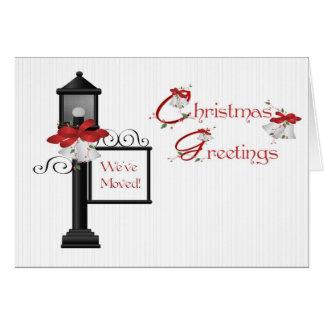 Christmas Lamppost Address Change Greeting Card