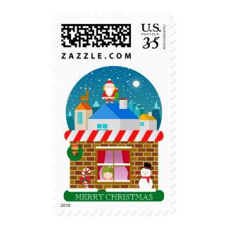 Christmas landscape stamp