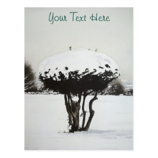 Christmas landscape snow scene original art postcard