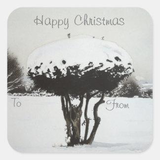 Christmas landscape snow scene original art square sticker