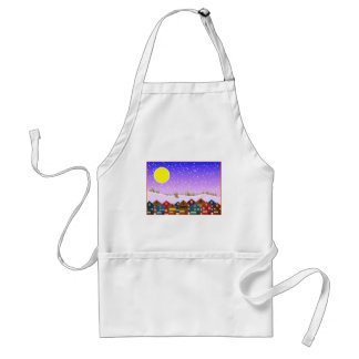 Christmas landscape with houses and snow adult apron