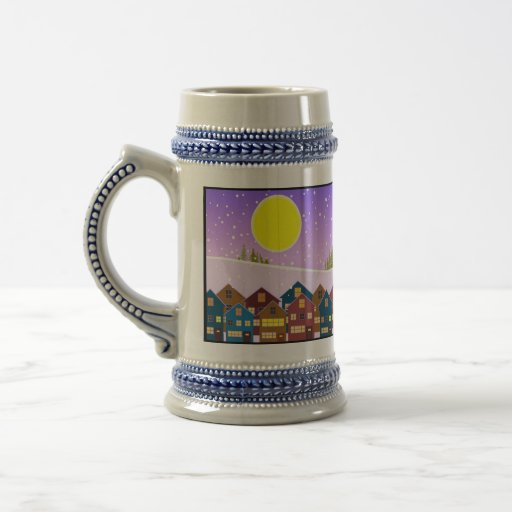 Christmas landscape with houses and snow beer stein