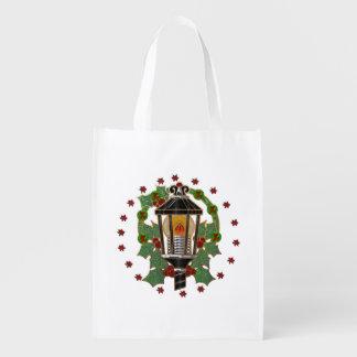 Christmas Lantern Stain Glass Art Deco Reusable Grocery Bags