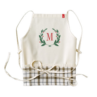 Christmas Laurel Wreath Monogram Zazzle HEART Apron