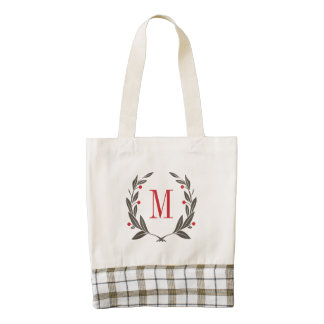 Christmas Laurel Wreath Monogram Zazzle HEART Tote Bag