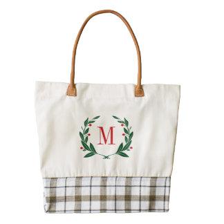 Christmas Laurel Wreath Monogram Zazzle HEART Tote Bag