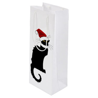 Christmas Le Chat Noir With Santa Hat Wine Gift Bag