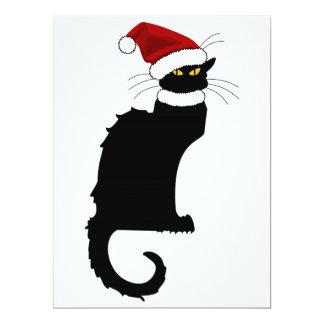 Christmas Le Chat Noir With Santa Hat 6.5x8.75 Paper Invitation Card