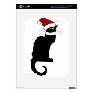 Christmas Le Chat Noir With Santa Hat iPad 3 Decals