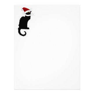 Christmas Le Chat Noir With Santa Hat Letterhead