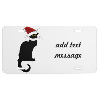 Christmas Le Chat Noir With Santa Hat License Plate
