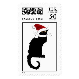 Christmas Le Chat Noir With Santa Hat Postage