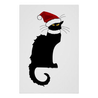 Christmas Le Chat Noir With Santa Hat Poster
