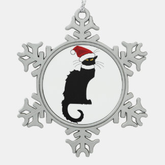 Christmas Le Chat Noir With Santa Hat Snowflake Pewter Christmas Ornament
