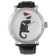 Christmas Le Chat Noir With Santa Hat Wristwatch