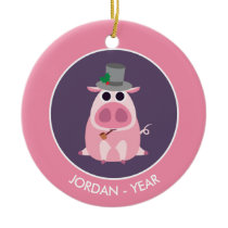 Christmas Leary the Pig Ceramic Ornament