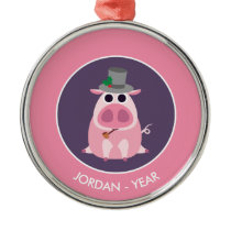 Christmas Leary the Pig Metal Ornament