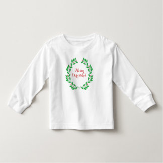 Christmas Leaves & Berries Wreath Merry Christmas Toddler T-shirt
