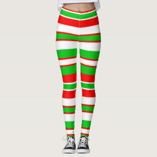 Christmas Leggings/Christmas Stripes Pattern Leggings