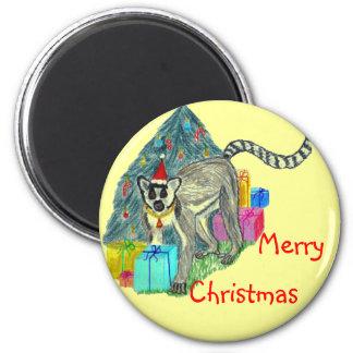 Christmas Lemur 2 Inch Round Magnet