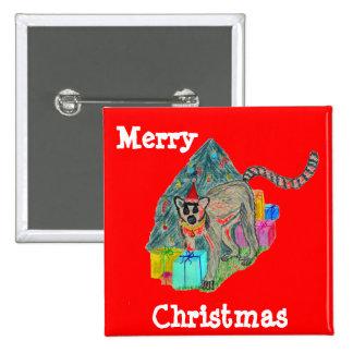 Christmas Lemur 2 Inch Square Button