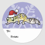 Christmas Leopard Gecko Gift Tags Round Stickers