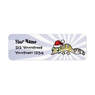 Christmas Leopard Gecko Label
