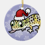 Christmas Leopard Gecko Double-Sided Ceramic Round Christmas Ornament