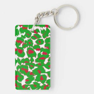 Christmas Leopard Spots Pattern Keychain