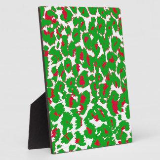 Christmas Leopard Spots Pattern Plaque