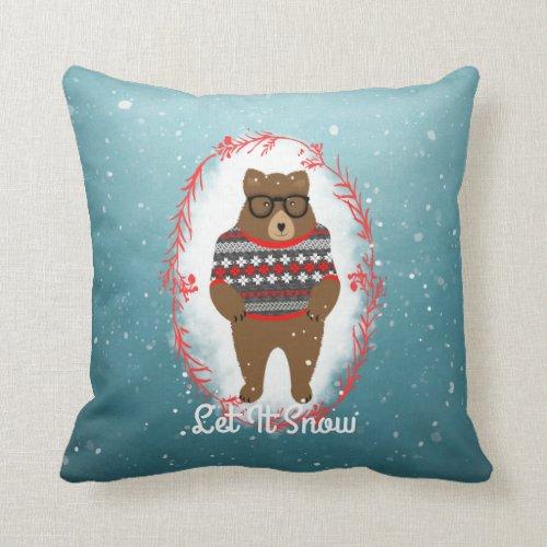 Christmas Let It Snow Cute Big Teddy Bear Throw Pillow