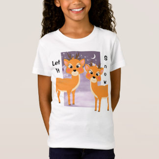 Christmas Let It Snow Cute Whimsy Reindeer T-Shirt