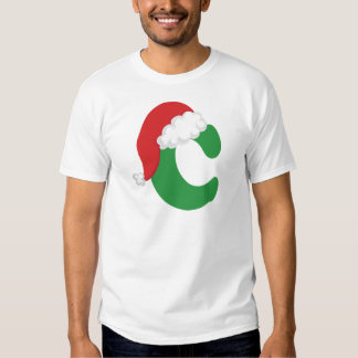 Christmas Letter C Alphabet Tee Shirt