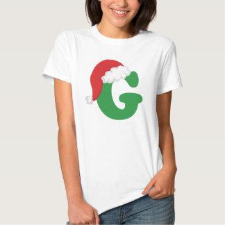 Christmas Letter G Alphabet Tee Shirt