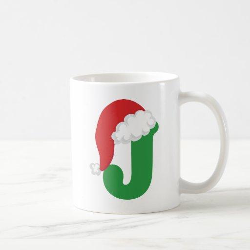 Christmas Letter J Alphabet Mugs